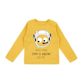 Barn t-shirt långärmad - Ground control gul 9-12mån - Barntröja GC gul 12mån (74cl)