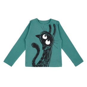 Barn t-shirt långärmad - Don´t go - Havsgrön 12mån, 18mån, 4är, 6år - Barntröja DG 12mån (74cl)