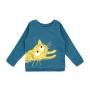 Barntröja sweatshirt - Playing cat - Mörkblå - Barntröja sweatshirt katt 5år (108cl)
