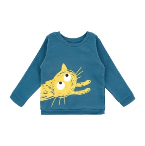 Barntröja sweatshirt - Playing cat - Mörkblå - Barntröja sweatshirt katt 12mån (74cl)