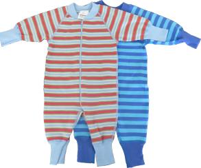 Babypyjamas Zipper - 2-pack Randiga multi 50cl - babypyjamas 2-pack blå/turkos/multi