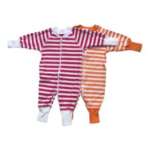 Babypyjamas Zipper - 2-pack Randiga vit/röd/orange 50cl - babypyjamas 2-pack vit/röd/orange