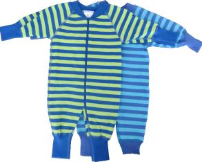 Babypyjamas Zipper - 2-pack Randiga blå 50cl - babypyjamas 2-pack blå/turkos/grön