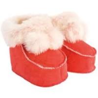Tofflor i lammskinn för baby - Röda 0-6mån