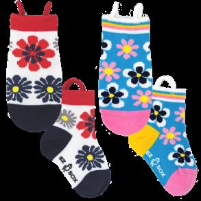 Ezsox barnstrumpor - Blommiga 2-pack (23-34) - 2-pack barnstrumpor blommor 23-30