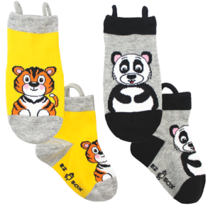 Ezsox barnstrumpor - Tiger/panda 2-pack (19-22 samt 31-34) - 2-pack barnstrumpor tiger/panda 19-22
