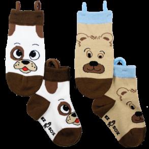 Ezsox barnstrumpor - hund & björn 2-pack (23-34) - 2-pack barnstrumpor hund/björn 31-34