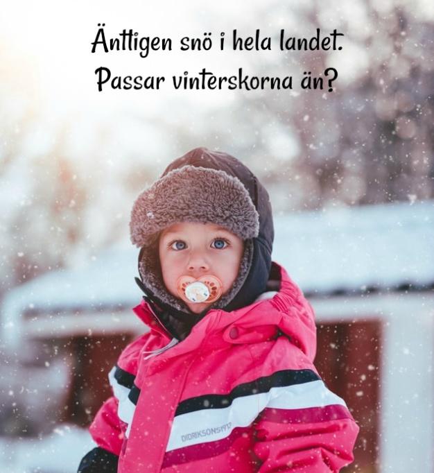 äntligen snö, passar barnens skor?