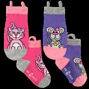 Ezsox barnstrumpor - Katt & Mus 2-pack (19-34) - 2-pack barnstrumpor katt och mus 31-34