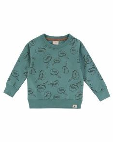 Barntröja Sweatshirt - Happy thoughts 1-6år - Sweatshirt Sage 1-2år