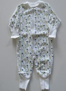 Pyjamas Zipper - Gröna bubblor 50-60cl - Stl.50 Zipper Gröna bubblor