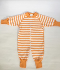 Pyjamas Baby Zipper - Orange randig 50-68cl - babypyjamas orange/vit