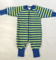 Pyjamas Baby Zipper - Randig Blå/Lime 50-68cl