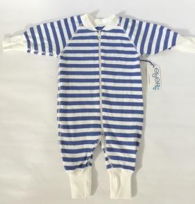 Pyjamas Baby Zipper - Randig Blå/Vit 50-68cl - babypyjamas blå/vit