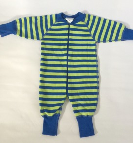 Pyjamas Baby Zipper - Randig Blå/Lime 50-68cl - babypyjamas blå/lime