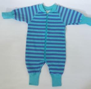 Pyjamas Baby Zipper - Randig blå/turkose 50-68cl - babypyjamas blå/turkose