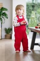 Hängselbyxor i ekologiska bomull- Röda 12mån-5år