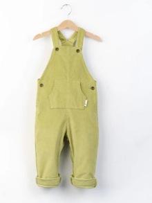 Hängselbyxor i ekologisk bomull - Oasis 12mån-5år - Hängselbyxor olivgrön 12-18mån