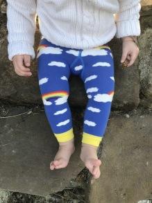 Barnstrumpbyxor utan fot - Rainbow clouds - 6mån-5år
