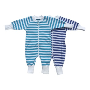 Babypyjamas Zipper - 2-pack Randiga vit/blå 50cl - babypyjamas 2-pack blå/vit