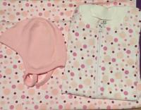 Babypaket - Pyjamas/Hjälmmössa/Babyfilt Rosa Bubblor 50-60cl