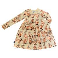 Barnklänning långärmad- Apor - 1-6år