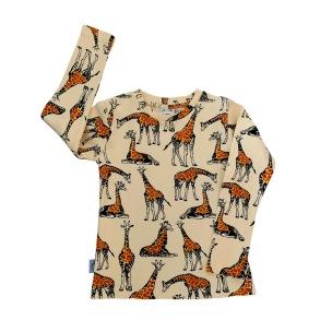Långärmad barntröja mönstrad giraffer 1-8år - Barntröja giraffer 1-2år