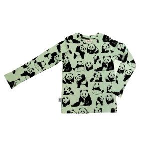 Barntröja långärmad grön- Pandor - 1-8år - Barntröja långärmad pandor 1-2år