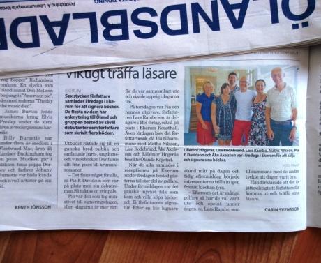 Artikel i Ölandsbladet från bokbord på Ekerums golf och resort.