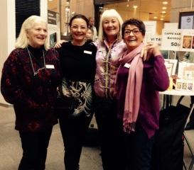 Lill Viljesten, Pia F Davidson, Carina Aynsley och Birgitta Andersson Backlund i Söderhallarna januari-17.