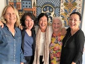 Säsongsmöte med Eva Jakobson. Helena Josephson, Aliya Dahlgren, Lill Viljesten och Pia F Davidson.