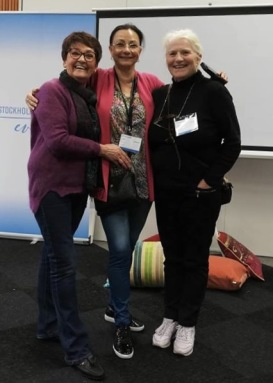 Birgitta Andersson Backlund, Pia F Davidson och Lill Viljesten på Seniormässan i Stockholm där de pratade om skrivande.