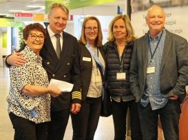 Birgitta Backlund, representant från Birka Cruises, Inger Lernevall, Eva Jacobson och Johan Smedberg i avgångsterminalen på Birka Cruises april-19.