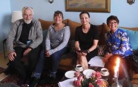 Möte med Svergieförfattarna den 27/5-21. Ragnar Ahlström Söderling, Elisabeth Magnusson Rune, Pia F Davidson och Birgitta Backlund, Johan Smedberg med på mobilen.