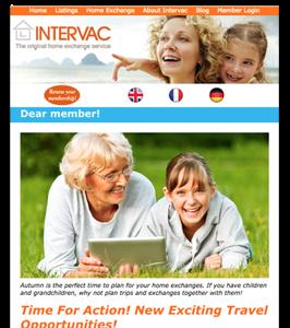 Nyhetsbrev för Intervac Home Exchange
