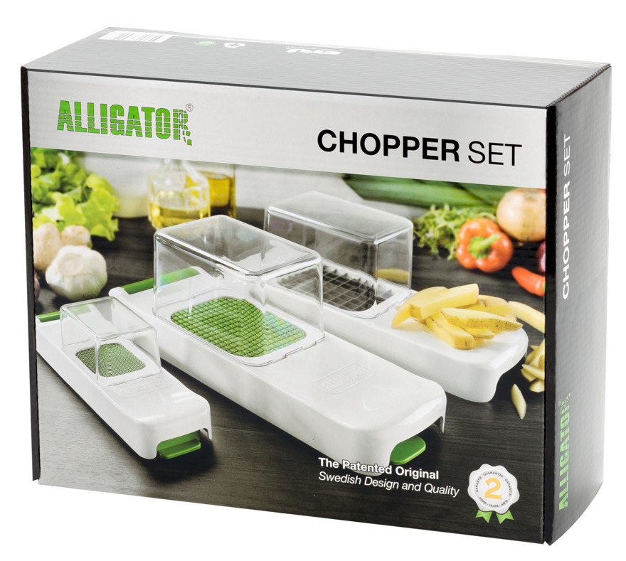 Alligator Chopper Set, chopping, dicing vegetables. The Original and Patentad vegetable chopper.