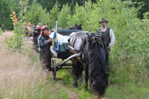 Vivi, hästen Vilja och Erik tar en kort paus. foto: Marie Nyström