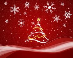 Tecknad vit julgran på röd botten med vita stjärnor