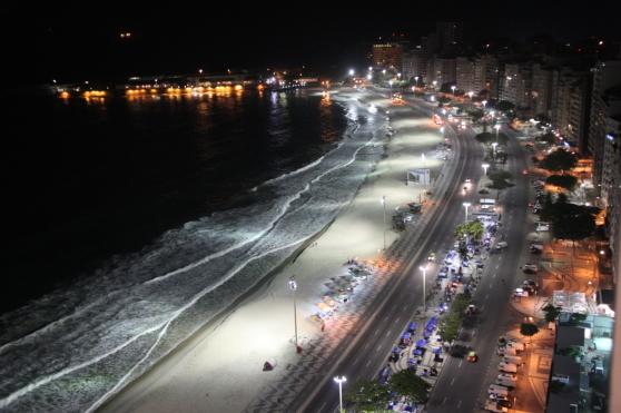 Copacabana nattetid. Från Bengt och Anders resa till Brasilien under inspelningarna av The Green Planet.
