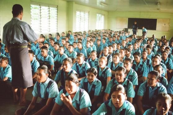 Ett klassrum i Samoa.
