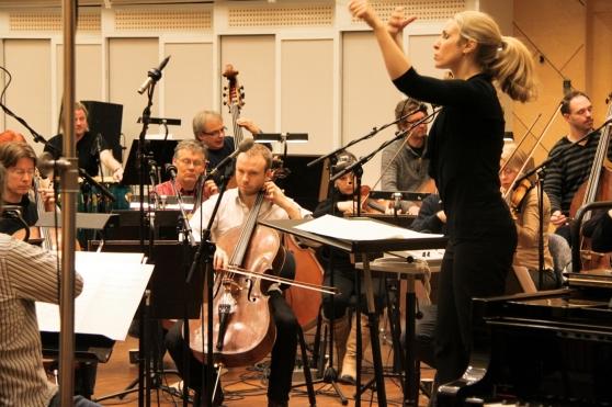 Från inspelningarna av The Green Planet-musiken i Oslo. Ragnar Bjerkreim har komponerat musiken och den är framförd av Norwegain Radio Orchestra.