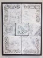 3.INTE BARA VIT    Akryl o collage på duk mörk träram 64 x84cm