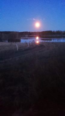 Fullmånen speglar sig i Nysockensjöns blanka vatten!