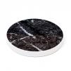 4 st Glasunderlägg svart marmor/vit kant