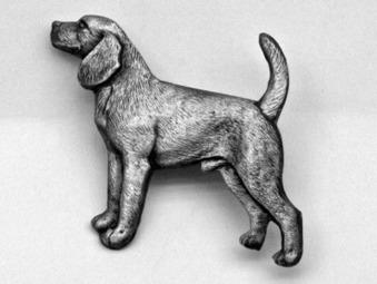 Beagle Brosch Kenart - Beagle silverfärgad