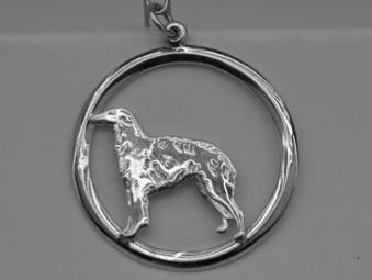 Borzoi hängsmycke med cirkel - Silver