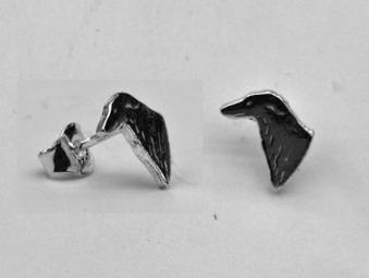 Borzoi örhänge huvud par - Silver
