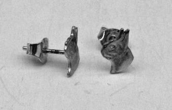 Bostonterrier örhänge huvud par - Silver
