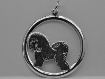 Bichon Frisé hängsmycke med cirkel - Silver