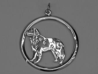 Berner Sennenhund hängsmycke med cirkel - Silver